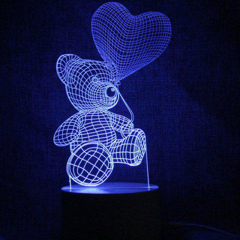 Love Heart Bear Touch Color Change LED Night Light - TRANSPARENT