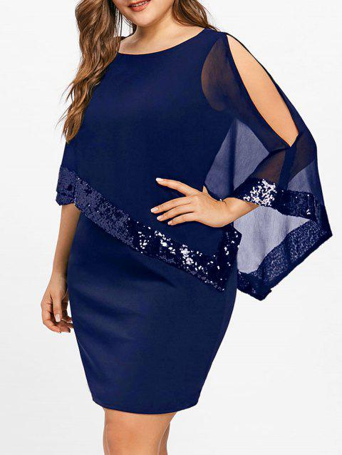 Plus Size Fitted Sequins Overlay Dress - BLUE 2XL