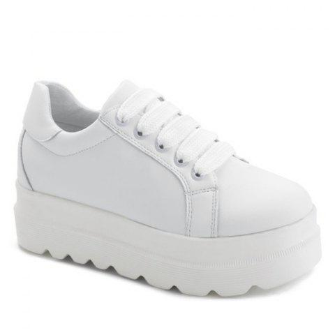 Faux Leather Lace Up Platform Shoes - WHITE 36