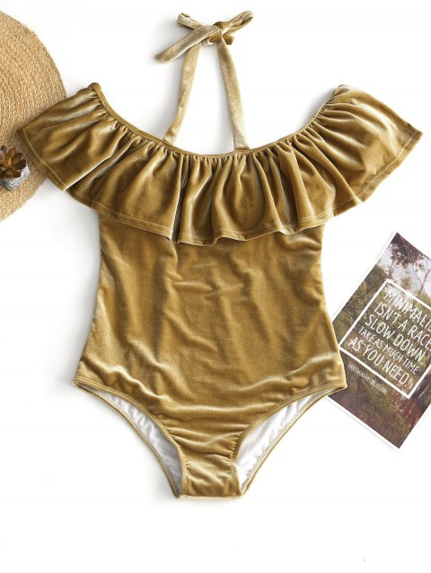 Velvet Halter Plus Size Swimsuit - CHAMPAGNE GOLD 3XL