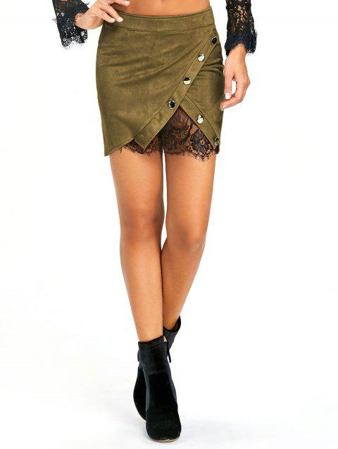 Buttoned Lace Insert Mini Bodycon Skirt - ARMY GREEN S