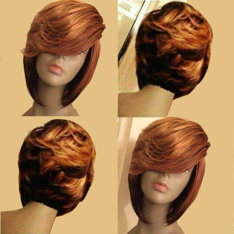 Short Side Parting Layered Slightly Curled Bob Synthetic Wig - COLORMIX