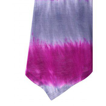Short Sleeve Tie Dyed Printed Tunic T-shirt - PINK 2XL