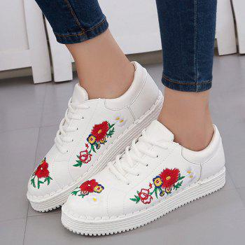 Faux Leather Floral Embroidery Sneakers - WHITE 40