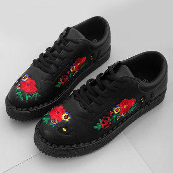 Faux Leather Floral Embroidery Sneakers - BLACK 39