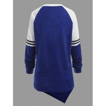 Raglan Sleeve Striped Asymmetrical Plus Size Sweatshirt - BLUE XL