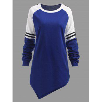 Raglan Sleeve Striped Asymmetrical Plus Size Sweatshirt - BLUE BLUE