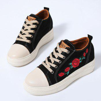 Floral Embroidery Stitching Casual Shoes - BLACK 38