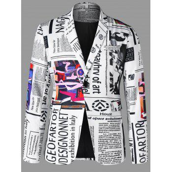 Newspaper Graphic Lapel Blazer
