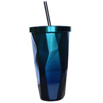 500ML Stainless Steel Vacuum Flask Coffee Cup with Lid Straw - BLUE BLUE