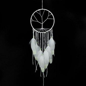 Valentine's Day Handwoven Indian Style Feathers Fluorescence Hanging Dreamcatcher - WHITE