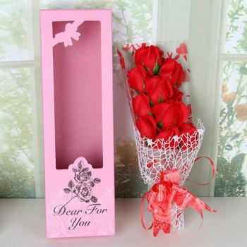 Artificial Soap Flowers In A Box Valentine's Day - RED