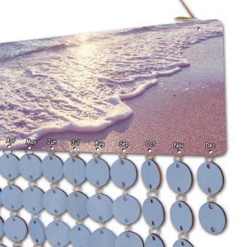 Sunset Beach Wall Hanging DIY Birthday Reminder Wooden Calendar Board - LIGHT BLUE