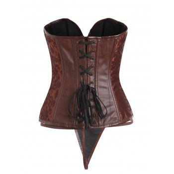 Faux Leather Insert Zip Brocade Corset - SUGAR HONEY SUGAR HONEY
