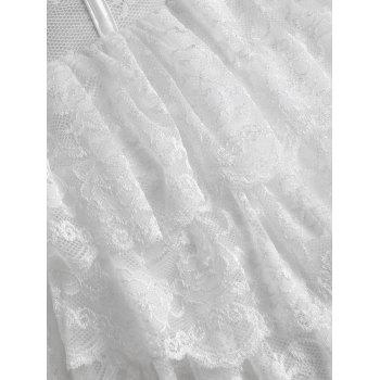 Strapless Tier Lace Ruffles Corset Dress - WHITE XL
