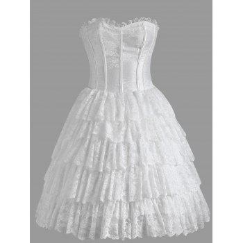 Strapless Tier Lace Ruffles Corset Dress - WHITE WHITE