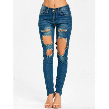 Skinny Frayed Destroyed Jeans - BLUE M