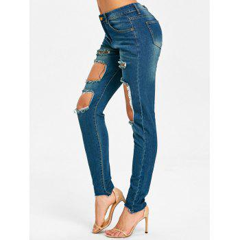 Skinny Frayed Destroyed Jeans - BLUE BLUE