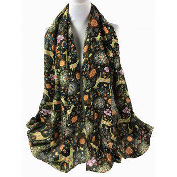 Funny Deer Pattern Silky Spring Fall Scarf - ARMY GREEN