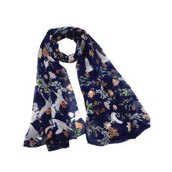 Vintage Swans Pattern Decorated Long Scarf - CADETBLUE