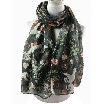 Vintage Swans Pattern Decorated Long Scarf - GRAY