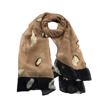 Unique Spotted Pattern Sheer Scarf - LIGHT COFFEE