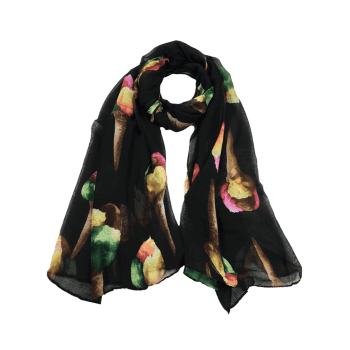Funny Icecream Pattern Decorated Long Scarf - BLACK