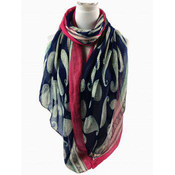 Unique Cashew Pattern Embellishedd Silky Long Scarf - CADETBLUE