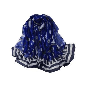 Sailboat Pattern Embellished Silky Long Scarf - ROYAL