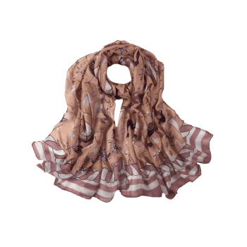 Sailboat Pattern Embellished Silky Long Scarf - PEONY PINK