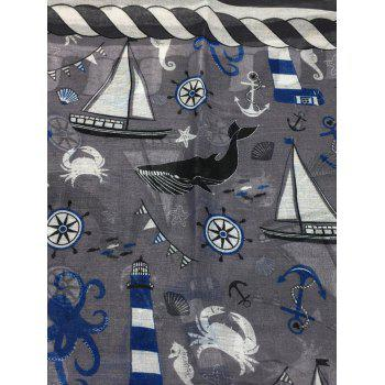 Sailboat Pattern Embellished Silky Long Scarf - GRAY