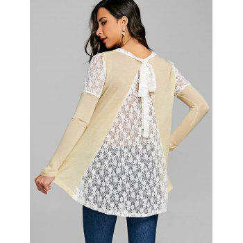 Long Sleeve Back Tie Up Lace Insert Top - OFF WHITE M