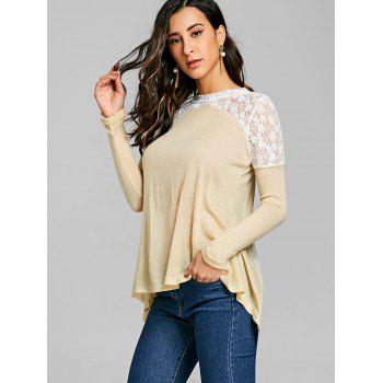Long Sleeve Back Tie Up Lace Insert Top - OFF WHITE 2XL