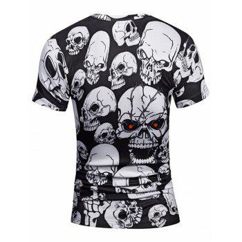All Over Skulls Print Short Sleeve Tee - WHITE/BLACK XL