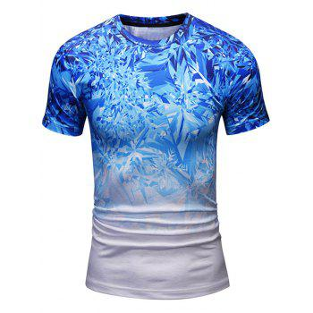 Crew Neck Shattered Ice Pattern Tee - BLUE BLUE