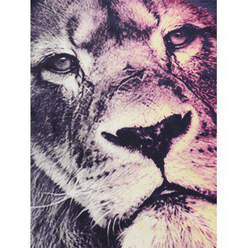 Short Sleeve Crew Neck Lion Face Print Tee - COLORMIX L