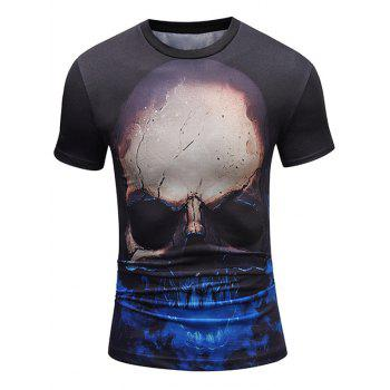 Crew Neck Skull Pattern Tee - COLORMIX COLORMIX