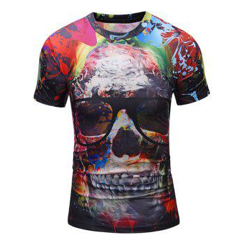 Skull with Glasses Print Crew Neck Tee - COLORMIX COLORMIX