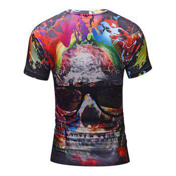 Skull with Glasses Print Crew Neck Tee - COLORMIX 2XL