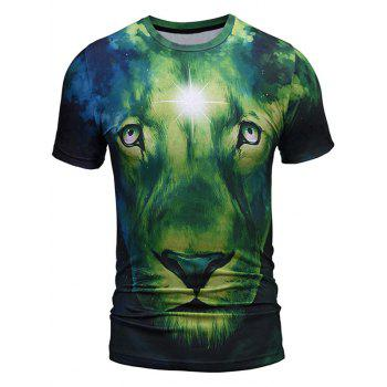 Lion Face Pattern Crew Neck Tee - GREEN GREEN