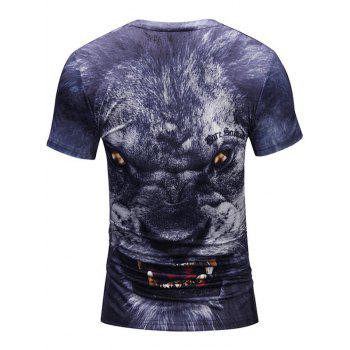 Short Sleeve Crew Neck Beast 3D Tee - DEEP BLUE 2XL
