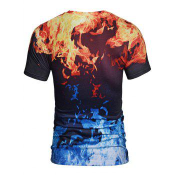Short Sleeve Flame 3D Print Crew Neck Tee - COLORMIX XL
