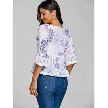 Floral Print Smock Blouse - WHITE ONE SIZE