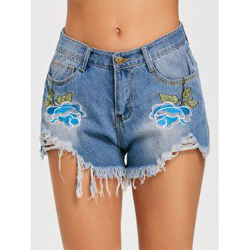 Embroidery Distressed Jean Shorts - DENIM BLUE XL