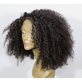 Medium Side Parting Shaggy Curly Synthetic Fiber Wig - NATURAL BLACK
