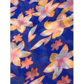 Vintage Flourishing Flowers Pattern Sheer Scarf - ROYAL