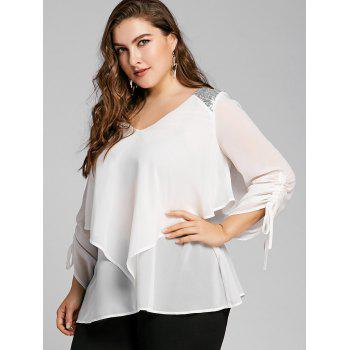 Plus Size Sequined Panel Overlay Blouse - WHITE XL