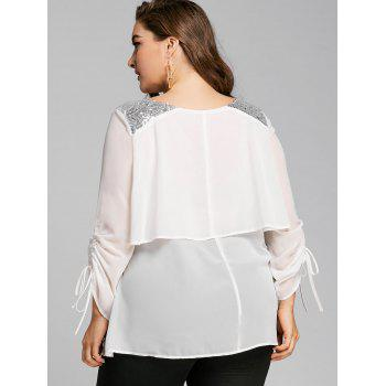 Plus Size Sequined Panel Overlay Blouse - WHITE 4XL
