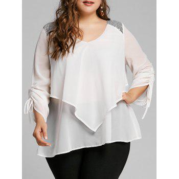 Plus Size Sequined Panel Overlay Blouse - WHITE WHITE