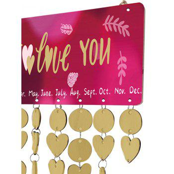 Thicken Wooden DIY Valentine's Day Letter Printed Calendar Board - GOLDEN
